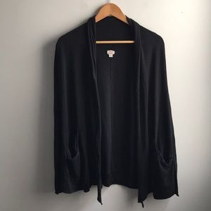Wilfred Aritzia black silk Flaubert cardigan
